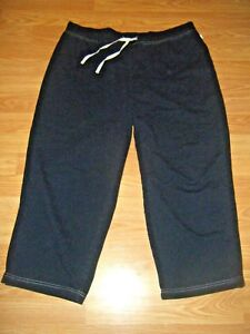 2a24f1419a34 Details about CHIC BLACK STRETCH KNIT DRAWSTRING CAPRIS SZ XL