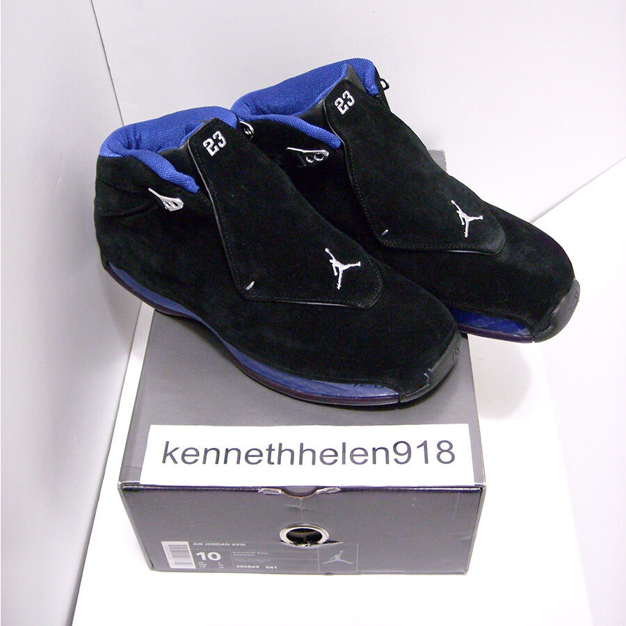NEW 2003 NIKE AIR JORDAN 18 XVIII ORIGINAL BLACK SPORT ROYAL blueE MENS SIZE 10