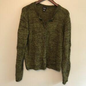 Eileen Fisher Soft Green Dark Brown Wool Blend Cardigan Sweater