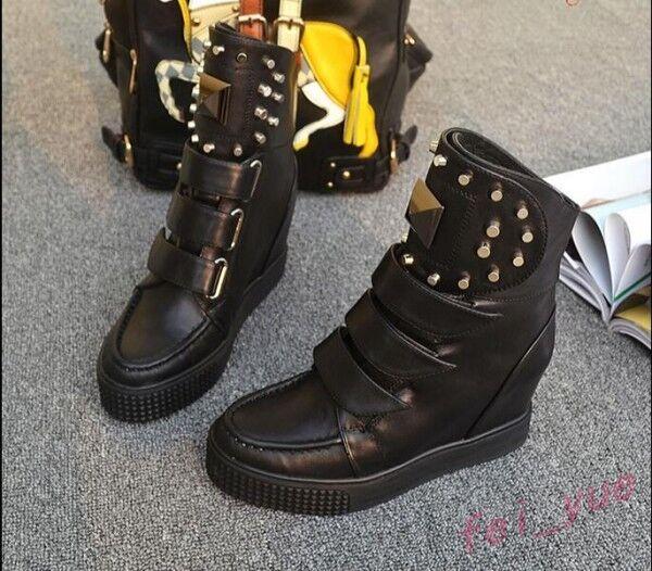 Womens Womens Womens Punk Studs High Platform Hidden Heel Wedge Sport Sneaker High Top shoes 284463