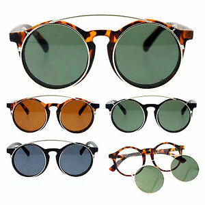 SA106-Detachable-Clip-On-Round-Circle-Lens-Retro-Keyhole-Glasses-Sunglasses