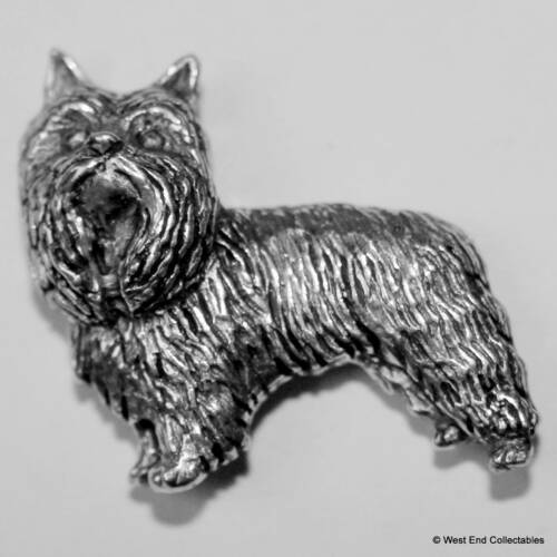Yorkie Yorkshire Terrier Pewter Pin Brooch British Hand Crafted Silky Dog