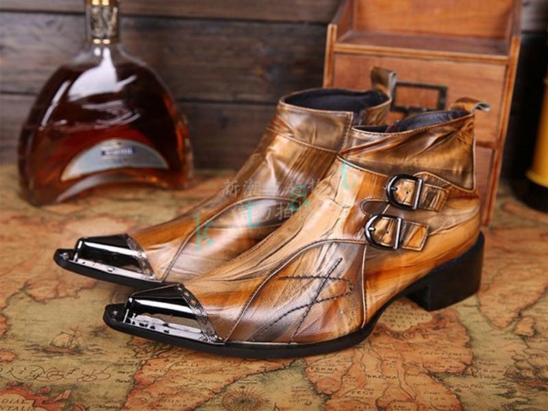 Hommes Bottines Bout Pointu En Cuir Rivets Métal Stud Business Plates Chaussure US Taille