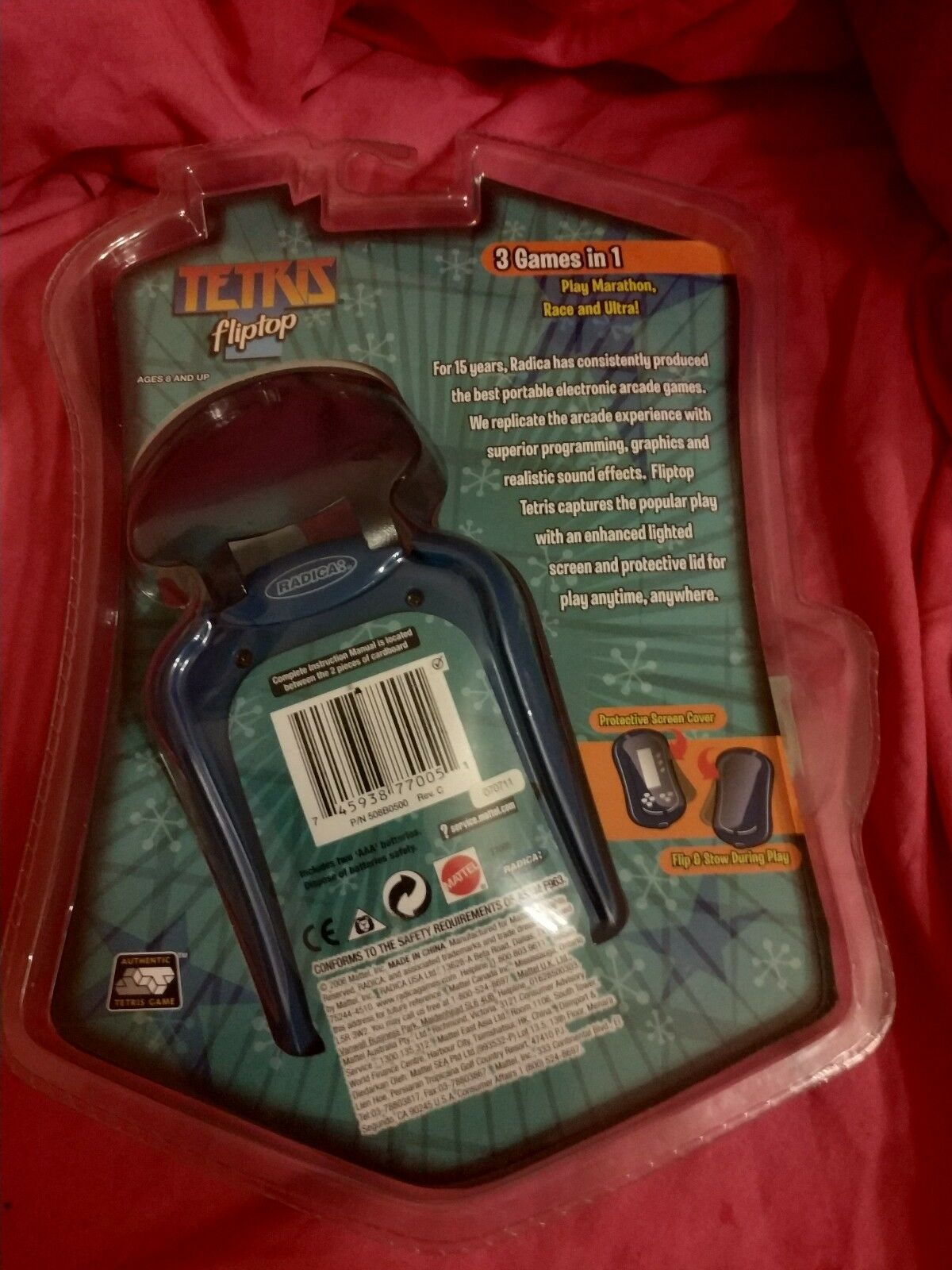Mattel 2006 Handheld Tetris Fliptop Game radica radica radica ultra rare collectable L@@K 763dd6