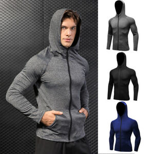 Men-039-s-Athletic-Hoodie-Long-Sleeve-Gym-Running-Cycling-Full-Zip-Pouch-Pocket-Tops