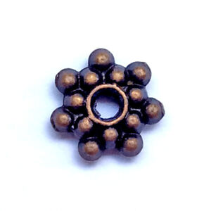 Antique Copper Plated Alloy 8mm Daisy Flower Star Heishi Spacer Beads Q100