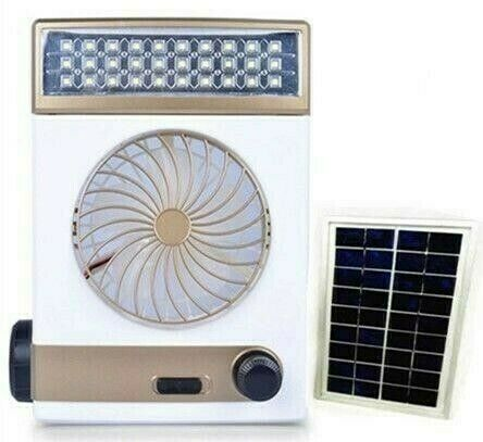 4 In 1- Multifunction Portable Solar Rechargeable Fan With Led Lamp/ Flashlight/dc Out