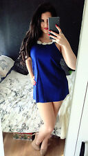 WOMANS DRESS SEXY 8 10 PARTY TOWIE NEW 1ST POSTAGE BODYCON blue daisy backless