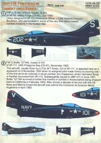 Print Scale Decals 1//48 GRUMMAN F9F PANTHER JET IN COMBAT OVER KOREA Part 1