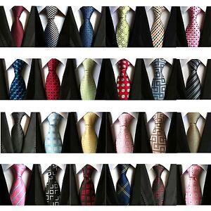 Fashion-Men-039-s-Classic-Tie-100-Silk-Necktie-Geometric-Woven-Jacquard-Neck-Ties
