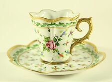 Vintage Peint Main J. Dumont Limoges  France Cup and Saucer Hand Painted RARE