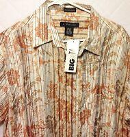 Men's J.ferrar Tan Crinkled Shirt Size L