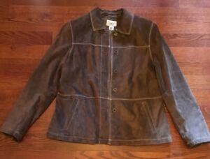 L-L-Bean-Women-039-s-Size-Large-Brown-100-Suede-Leather-Jacket-Coat