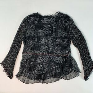 Coldwater-Creek-Women-Blouse-Black-Floral-Long-Sleeve-Jewel-Neck-Lined-Ruffle-XS