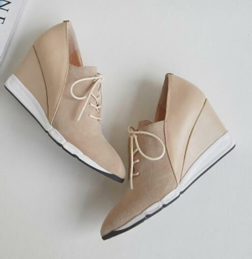 Womens High Wedge Heels Lace Lace Lace Up Fashion Leather Mixed colors Pointed Toe shoes@@ 93756e