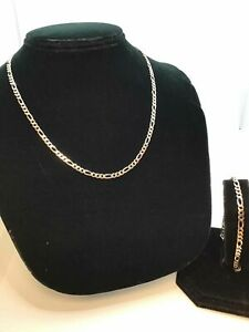 """Silver necklace and bracelet set 18"""" and 8"""""""