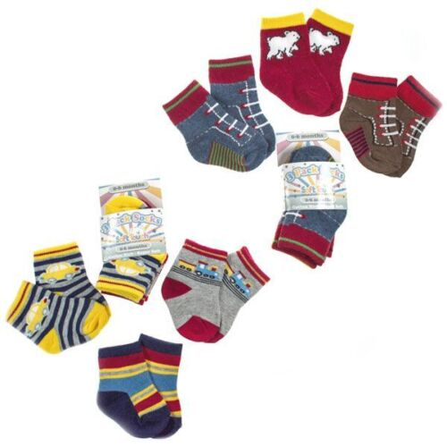 3 PAIRS BOYS SOCKS 0-6 6-12 12-18 MONTHS CAR//TRAIN MOCK TRAINERS SOFT TOUCH