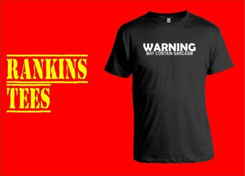WARNING MAY CONTAIN SARCASM  T Shirt Sarcastic Nerd Funny Humour Tee  Joke