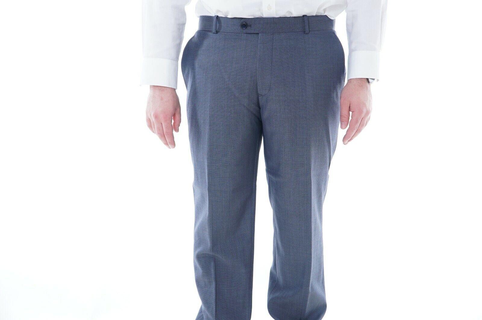 Bar III Slim Fit bluee Striped Wool Blend Flat Front Dress Pants 30x32