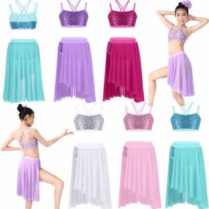d1e9a5c91 Image is loading Kids-Girls-Lyrical-Ballet-Dance-Dress-Latin-Leotard-