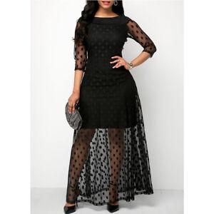28dc4a79f0 Details about Women's Plus Size Polka Dot Mesh Gauze Boho Cocktail Party  Club Maxi Dress US