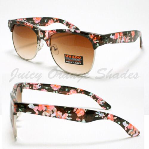 Flower Floral Print Sunglasses Womens Fashion Keyhole Square Frame