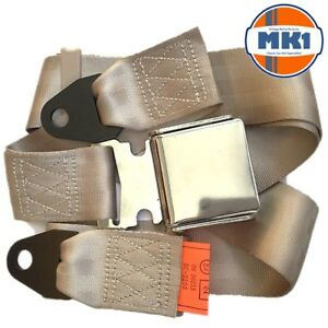 Vintage   Classic Car Beige Chrome Buckle Lap Seat Belt 2 Adjustable ... 5d907322719