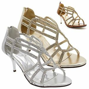 e849cba84a78 Image is loading Ladies-Diamante-Mid-Kitten-Heel-Sandals-Womens-Strappy-
