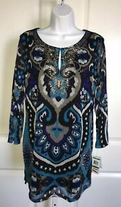 INC-International-Concepts-Blue-Print-Beaded-Tunic-Size-Large-NWT-Folkloric-Ikat
