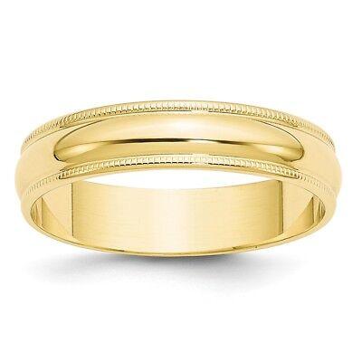Fine Jewelry Audacious 10k Or Jaune 5mm Milgrain Confortable Anneau Mariage Léger Bague Sz 4-14 Cheap Sales