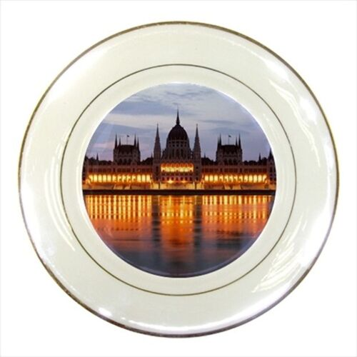 Budapest Hungary Porcelain Plate w/ Display Stand