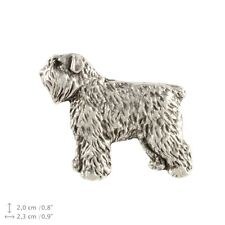 Bouvier des Flandres, silver covered pin, high quality Art Dog Usa