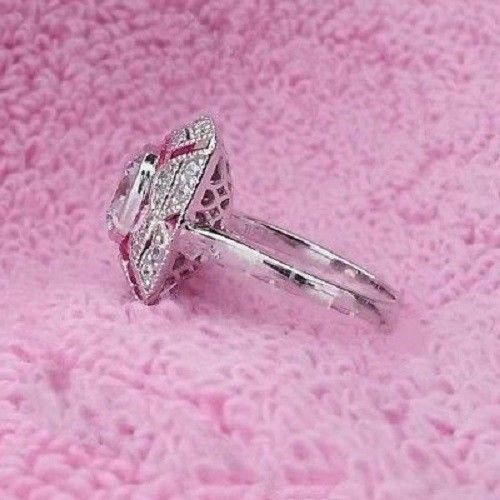 Details about  /3.50Ct White Cushion Cut Delicated Diamond Art Deco Engagement Ring 925 Silver