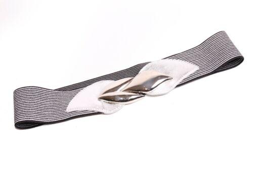 S386 Retro Women Silver/&Black Striped Elastic Belt w Metal Silver Leaves Buckle