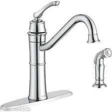 Moen Wetherly Single Handle ADA Kitchen Faucet With Side Sprayer In Chrome