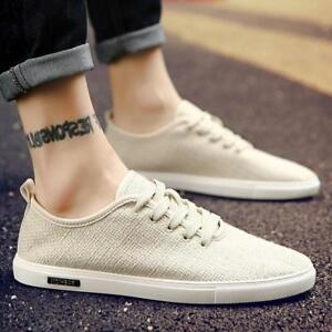 men's casual canvas breathable sneakers sports flat lace