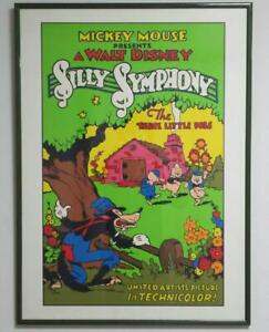 DISNEY-ART-FRAME-WALL-DECOR-COLLECTIBLE-RARE-POSTER-SILLY-SYMPHONY-SILK-SCREEN