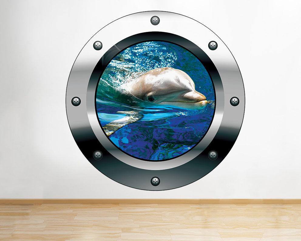 Ventana del dormitorio F990 Dolphin ag pegatina pared vinilo 3d habitación niños