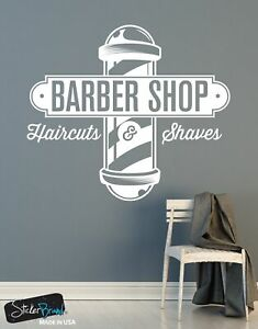 Barbershop Sign Haircuts And Shaves Vinyl Wall Decal Sticker 6066 Ebay