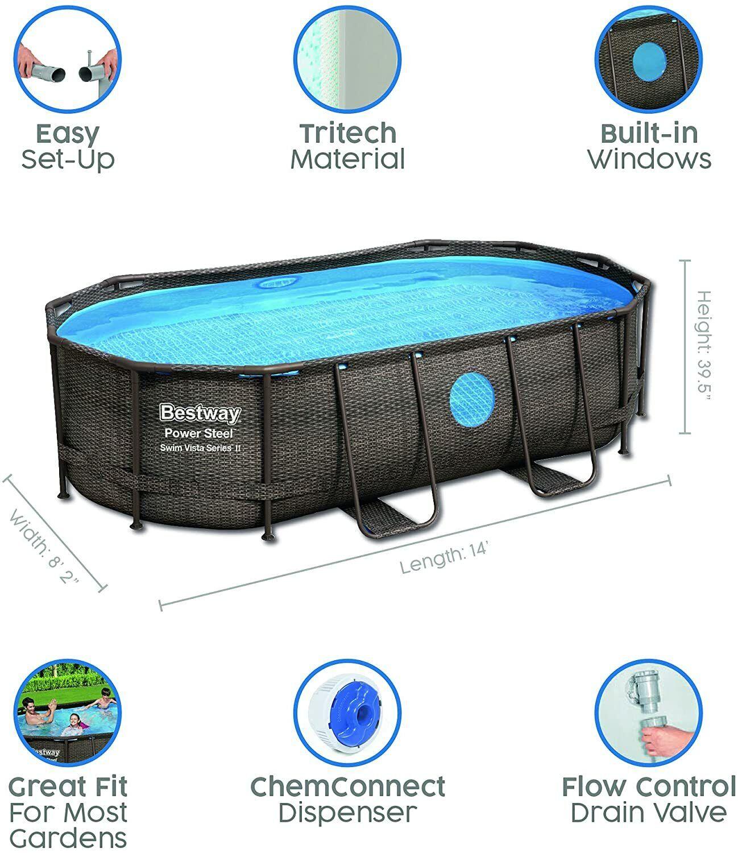 Bestway Power Steel Swimming Pool Set Vista Series™ 14ft x 8ft 2in x 39.5in Oval