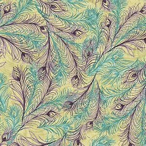 Fabric Peacock Feathers Purple Teal Susan Wingett Cotton 1/4 yard