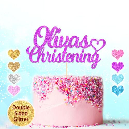 Cake topper Baptême Baptême Tout Nom Personnalisé Multicolore Paillettes Carte