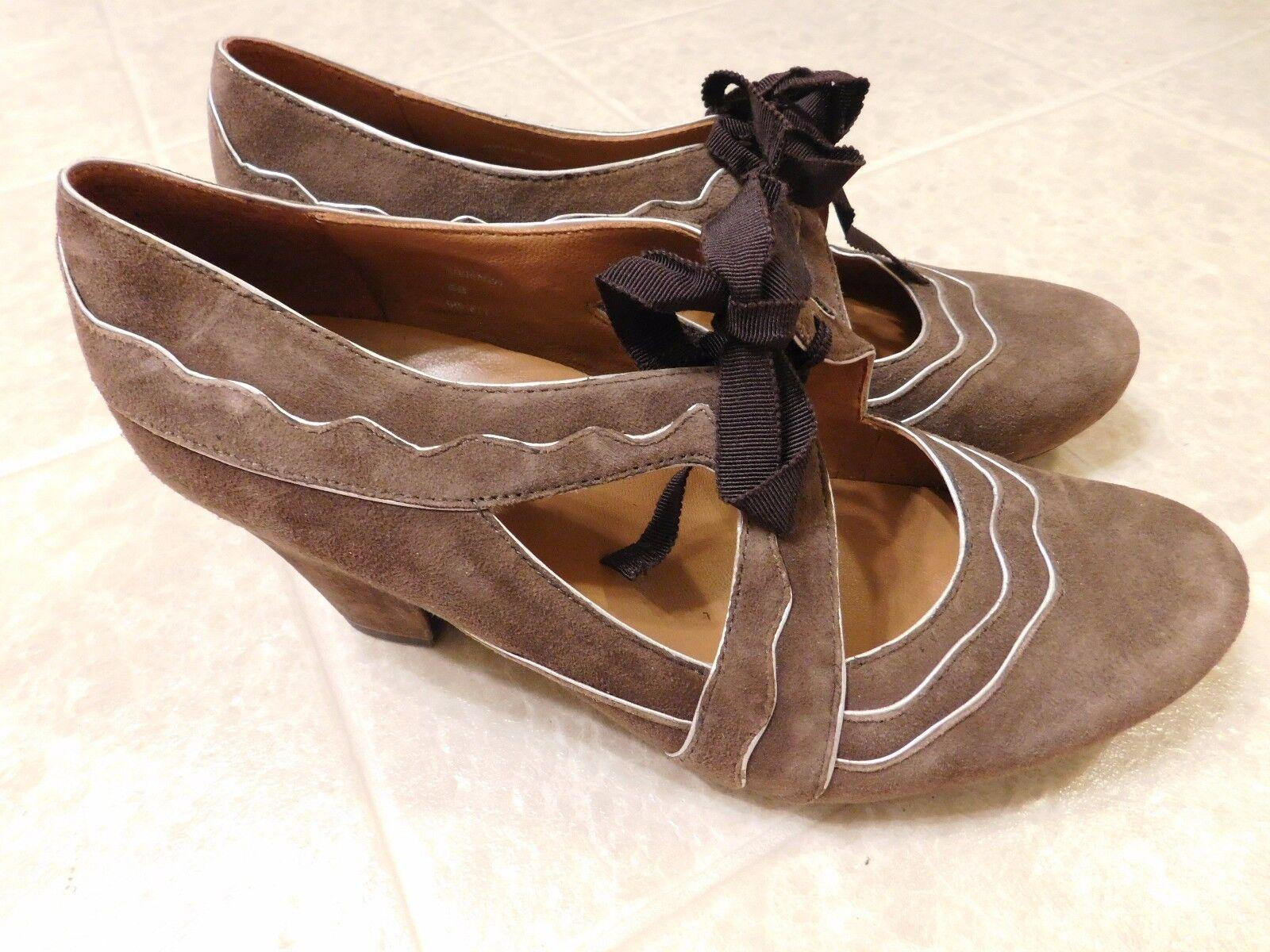 Earthies Sarenza Mary Jane High Heel Schuhes Suede Größe 8B Taupe Braun Suede Schuhes Leder XLN 431bb0