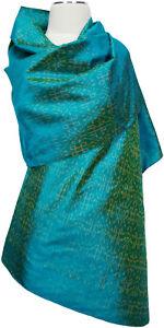 Pashmina-Ikat-Schal-Seide-Handgewebt-scarf-silk-handwoven-Tuerkis-turquoise