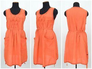 Womens-Gudrun-Sjoden-Orange-Tunic-Dress-Belt-Cotton-Linen-Pocket-Size-L