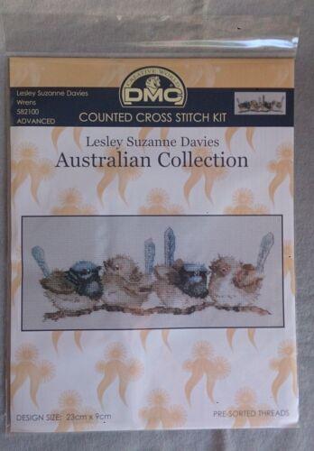 Wrens cross stitch by Lesley Davies DMC Australian Collection 23 x 9cm 16ct