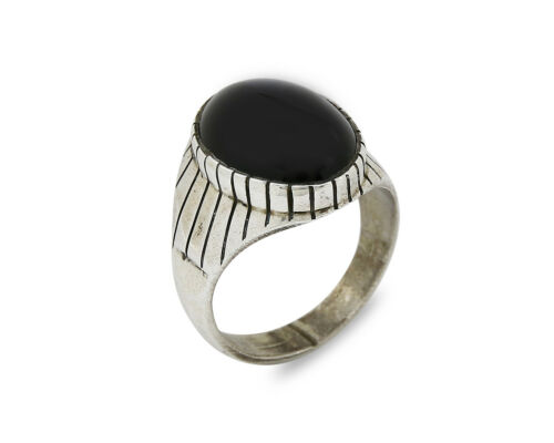 Navajo Artist Handmade Hand Stamped Natural Onyx .925 Sterling Silver Ring