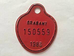 Vintage Belgian Bicycle License Plate 1985.