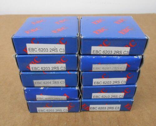 10 NIB EBC 6203 2RS C3 BALL BEARING 17MM X 40MM X 12MM DBL SEALED