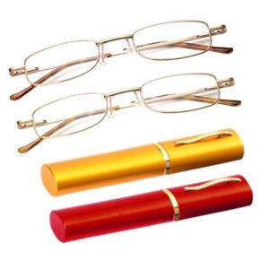 Hot-Unisex-Reading-Glasses-Clear-Spring-Hinge-Reader-Metal-Tube-With-Hard-Case